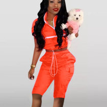 Orange Solid T Shirts Midi Shorts Two Pieces Sets Outfits D8265