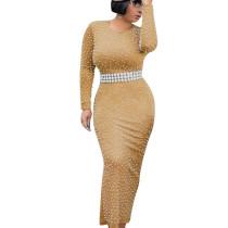 Fashionable Beading Round Collar Slim Bodycon Ankle Length Dress YYZ838