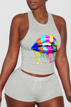 Gray Sporty Polyester Mouth Graphic Sleeveless Round Neck Tank Top Shorts Sets YY5178