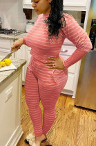 Orange Red Casual Polyester Striped Long Sleeve Round Neck Tee Top Long Pants Sets YM131