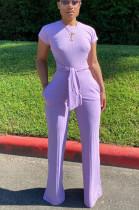 Purple Casual Polyester Short Sleeve Round Neck Waist Tie Romper N9213