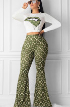 Multi Casual Polyester Mouth Graphic Long Sleeve Round Neck Tee Top Flare Leg Pants Sets YM8064