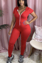 Red Casual Polyester Short Sleeve Bodycon Jumpsuit N9223