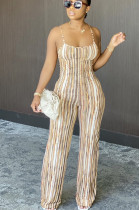 Brown Sexy Polyester Striped Sleeveless Spaghetti Strap Open Back Cami Jumpsuit N9215