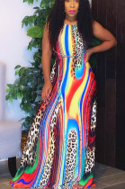 Colours Sexy Polyester Leopard Sleeveless Self Belted Backless Mid Waist Long Dress N9224