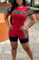 Casual Polyester Leopard Short Sleeve Round Neck Tee Top Shorts Sets S6229