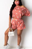 Pink Casual Polyester Short Sleeve Tee Top Shorts Sets YY5193