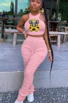 Pink Casual Polyester Animal Graphic Sleeveless Round Neck Ruffle Tank Top Long Pants Sets YM8127