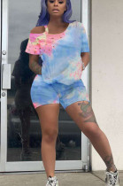 Bright Blue Casual Polyester Tie Dye Short Sleeve Tee Top Shorts Sets MN8304