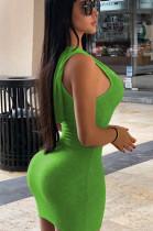 Green Sexy Polyester Sleeveless Mid Waist Tank Dress SM9091