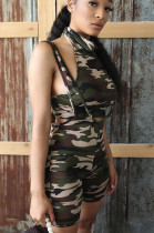 Casual Polyester Camo Sleeveless Self Belted Backless Tank Top Shorts Sets SM9100