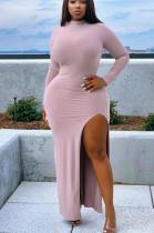 Pink Casual Polyester Long Sleeve Round Neck Split Hem Long Dress BBN035