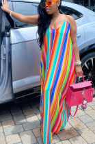 Red Casual Polyester Striped Sleeveless Spaghetti Strap Open Back Slip Dress CYY8569