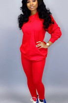 Red Casual Polyester Long Sleeve Round Neck Tee Top Long Pants Sets LD8631