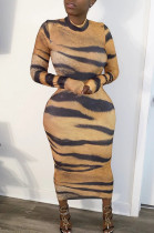 Sexy Polyester Long Sleeve Round Neck Zip Back Mid Waist Long Dress HM5356