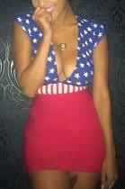 Sexy Acetate Striped Star Sleeveless Deep V Neck Mid Waist Mini Dress ORY5010
