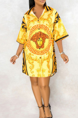Casual Polyester Pop Art Print Short Sleeve Lapel Neck Shirt Dress SMR9651