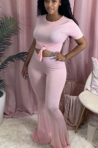 Pink Casual Polyester Short Sleeve Round Neck Tee Top Flare Leg Pants Sets GL6291