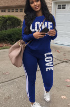 Blue Casual Polyester Letter Long Sleeve Round Neck Tee Top Long Pants Sets SN3855