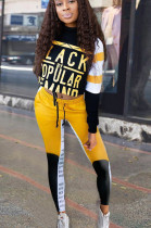 Yellow Casual Polyester Letter Long Sleeve Round Neck Spliced Tee Top Long Pants Sets SN3854