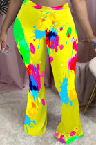 Yellow Casual Polyester Mid Waist Flare Leg Pants QQM4090