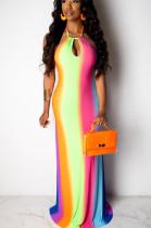 Multi Sexy Polyester Tie Dye Sleeveless Self Belted Mid Waist Long Dress QQM4049