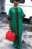 Green Casual Polyester Short Sleeve Round Neck Spliced Long Dress HHM6033