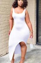 White Sexy Polyester Sleeveless Split Hem Tank Dress HH8915