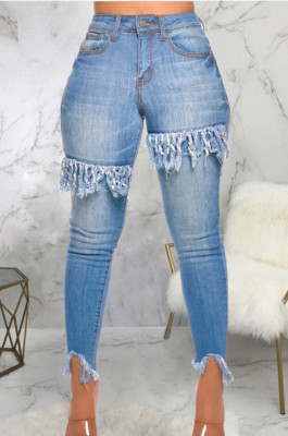 Casual Cotton Washed slim stretch fringed jeans SMR2313