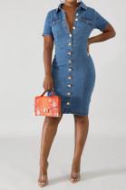 Casual Cotton Short Sleeve Lapel Neck Button Front Mini Dress JLX6026