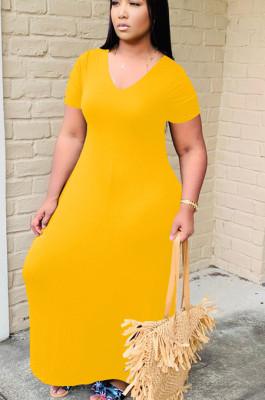 Yellow Casual Polyester Short Sleeve V Neck Long Dress YT3205