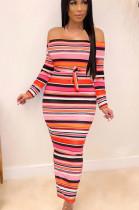 Pink Sexy Polyester Striped Long Sleeve Waist Tie High Waist Long Dress SH7906