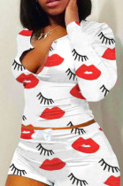 Casual Polyester Mouth Graphic Long Sleeve Round Neck Longline Top Shorts Sets H1516