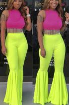 Fluorescent Green Casual Polyester Mid Waist Flare Leg Pants YY5208
