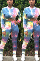 Blue Casual Polyester Long Sleeve Tee Top Long Pants Sets YSH6167