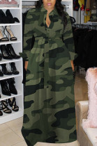 Sexy Chemical Fiber Blend Camo Long Sleeve Lapel Neck Button Front Long Dress H1282