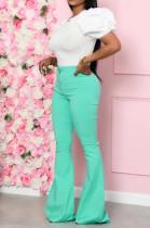Pure Color Casual Cotton Blend High Waist Flare Leg Pants QQ5202