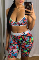 Casual Polyester Cartoon Graphic Sleeveless Cold Shoulder Crop Top Shorts Sets LS6222