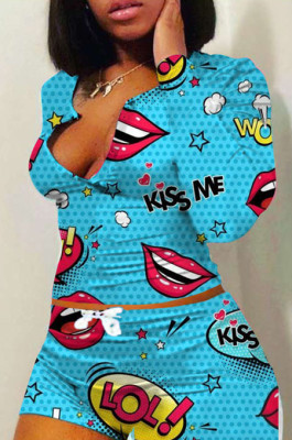 Casual Chemical Fiber Blend Mouth Graphic Long Sleeve Notched Neck Longline Top Shorts Sets H1515