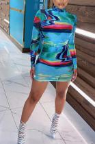 Tied Dye High Neck Bodycon Dress
