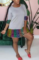 Leopard Patchwork Flare Bottom Mini Dress