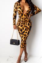 Leopard Texture Plunging Neck Long Dress
