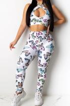 Butterfly Graphic Halter Drawstring Top & Elastic Waist Pants Set