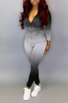 Casual Chemical Fiber Blend Gradient Ramp Zipper Front Long Sleeve Hoodie Long Pants Sets CYY8583