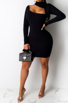 Solid Front Cut Out Mini Dress