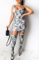 Dollar Graphic Randomly Print Tank Dress( no inlcuding Shoes&Bag)