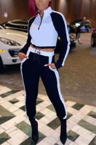 Casual Cotton Blend Spliced Zipper Front Long Sleeve V Neck Crop Top Long Pants Sets CM769