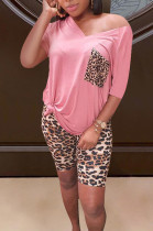 Casual Polyester Leopard Short Sleeve V Neck Tee Top Shorts Sets LS6368