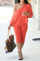 Solid Color Casual Long Sleeve Scoop Neck Tee Top Long Pants Sets YM139