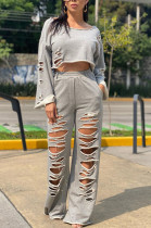 Casual Cotton Blend Pure Color Long Sleeve Round Neck Ripped Longline Top Long Pants Sets TRS1065